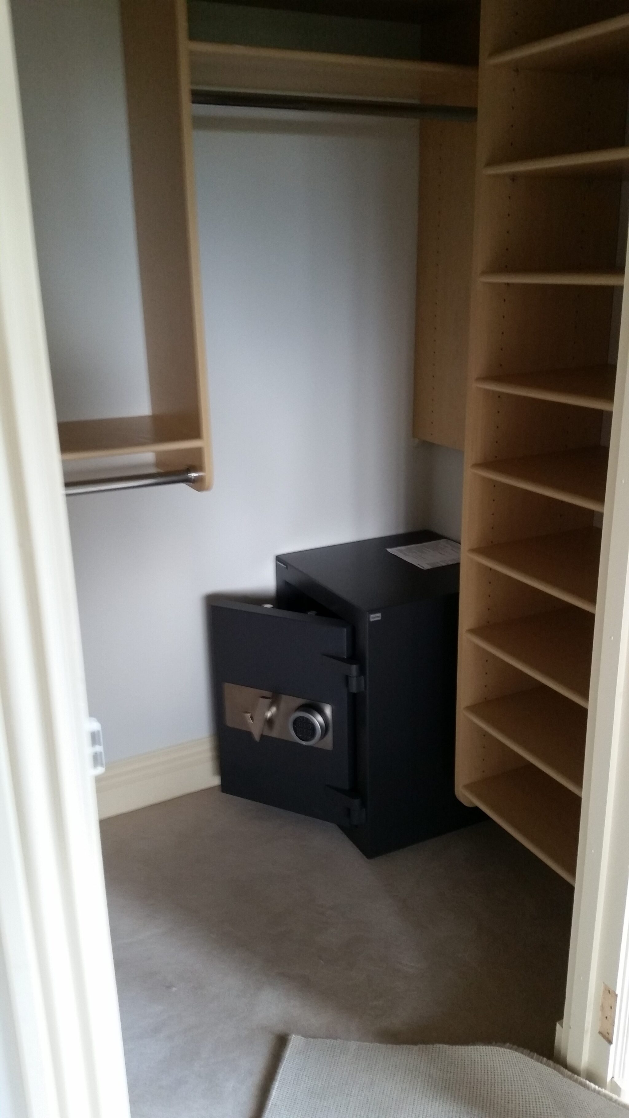 Reposition and installation of safe